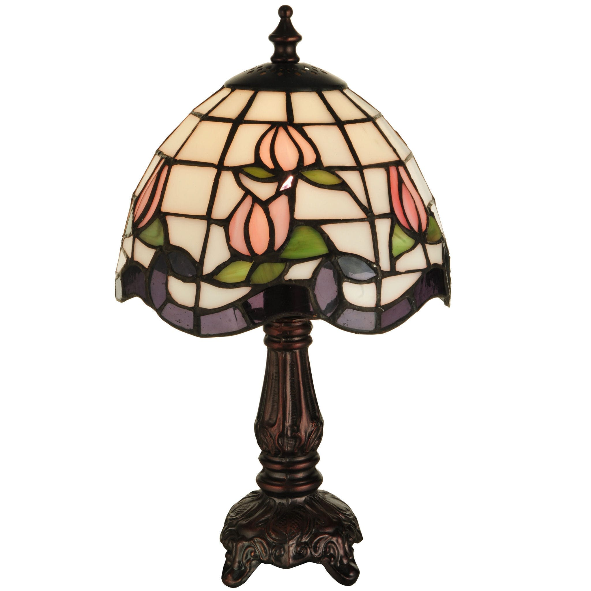 Small Tiffany Rose Border Lamp Stained Glass Lighting For Home Decor