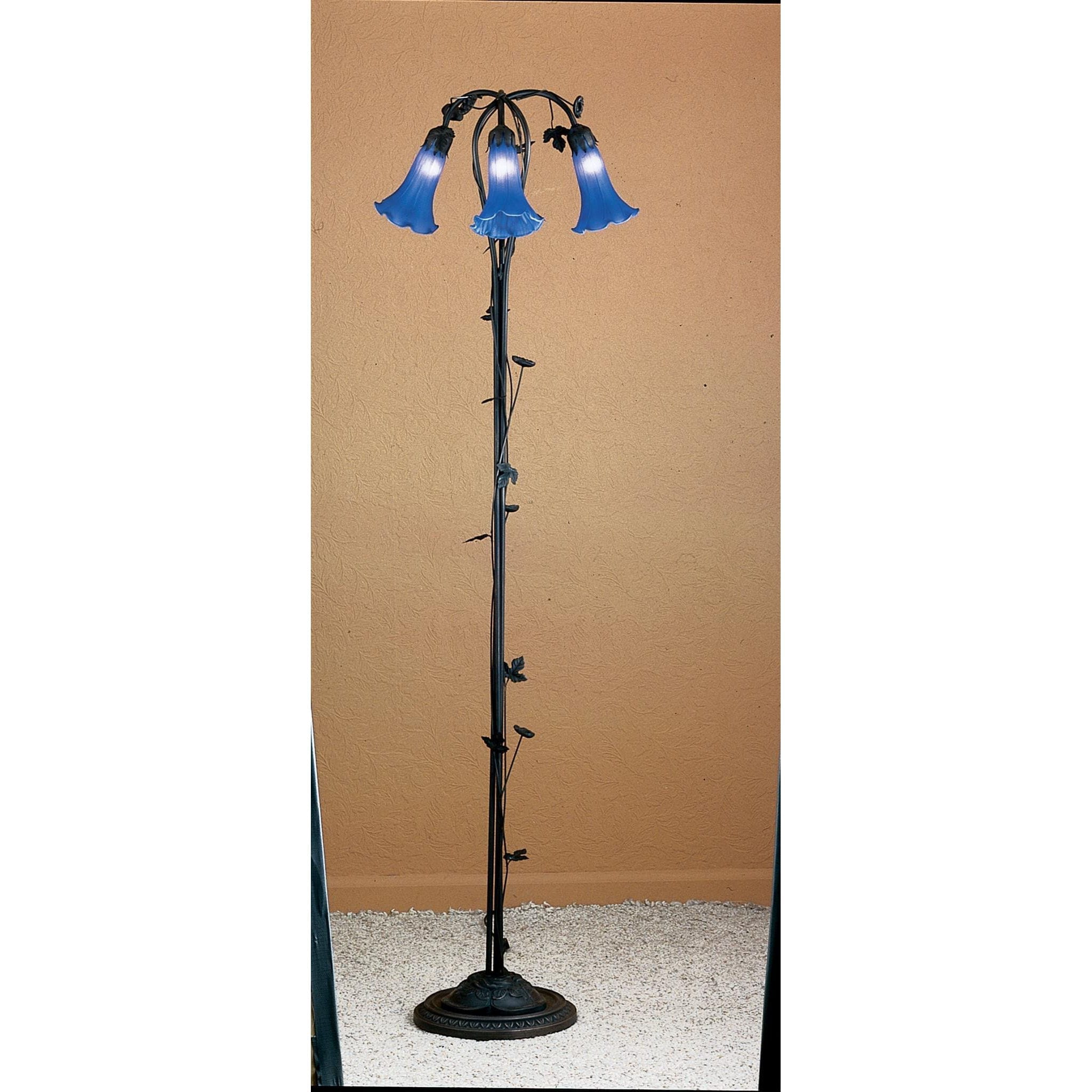 Excellent Floor Lamp 59 Inch H Blue Pond Lily 3 Lights hand crafted art VW58