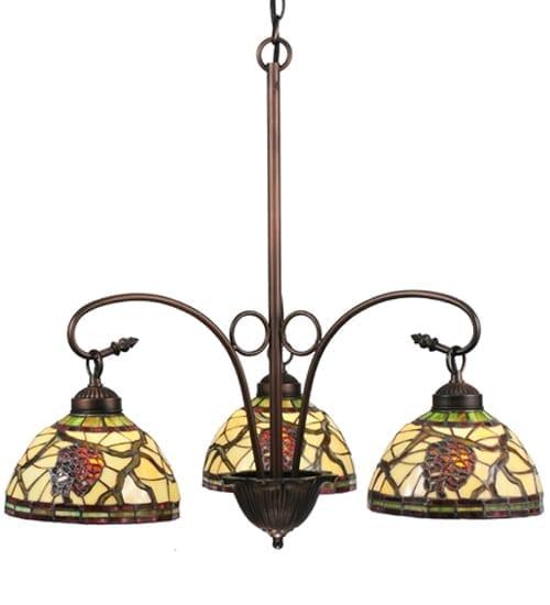 3 Light Rustic Chandelier Tiffany