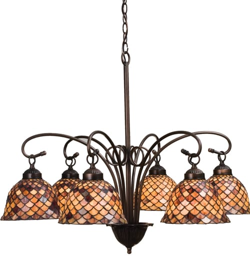 Fishscale 6 Light Chandelier Tiffany Style Kitchen Or Dining Lighting