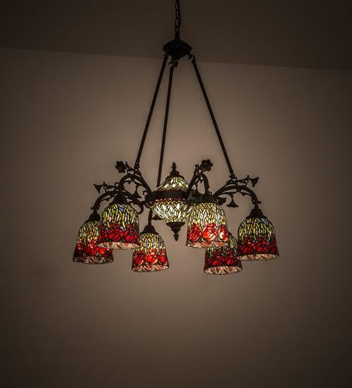 Red Rosebud 6 Light Chandelier Fl