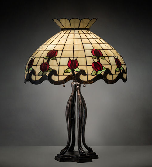Tiffany Table Lamps Burgundy Rose 4 Legs Decor Stained Glass Lighting
